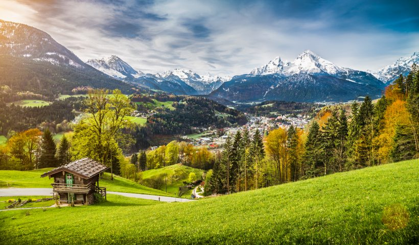 Panoramic view of beautiful mountain landscape in the Bavarian A