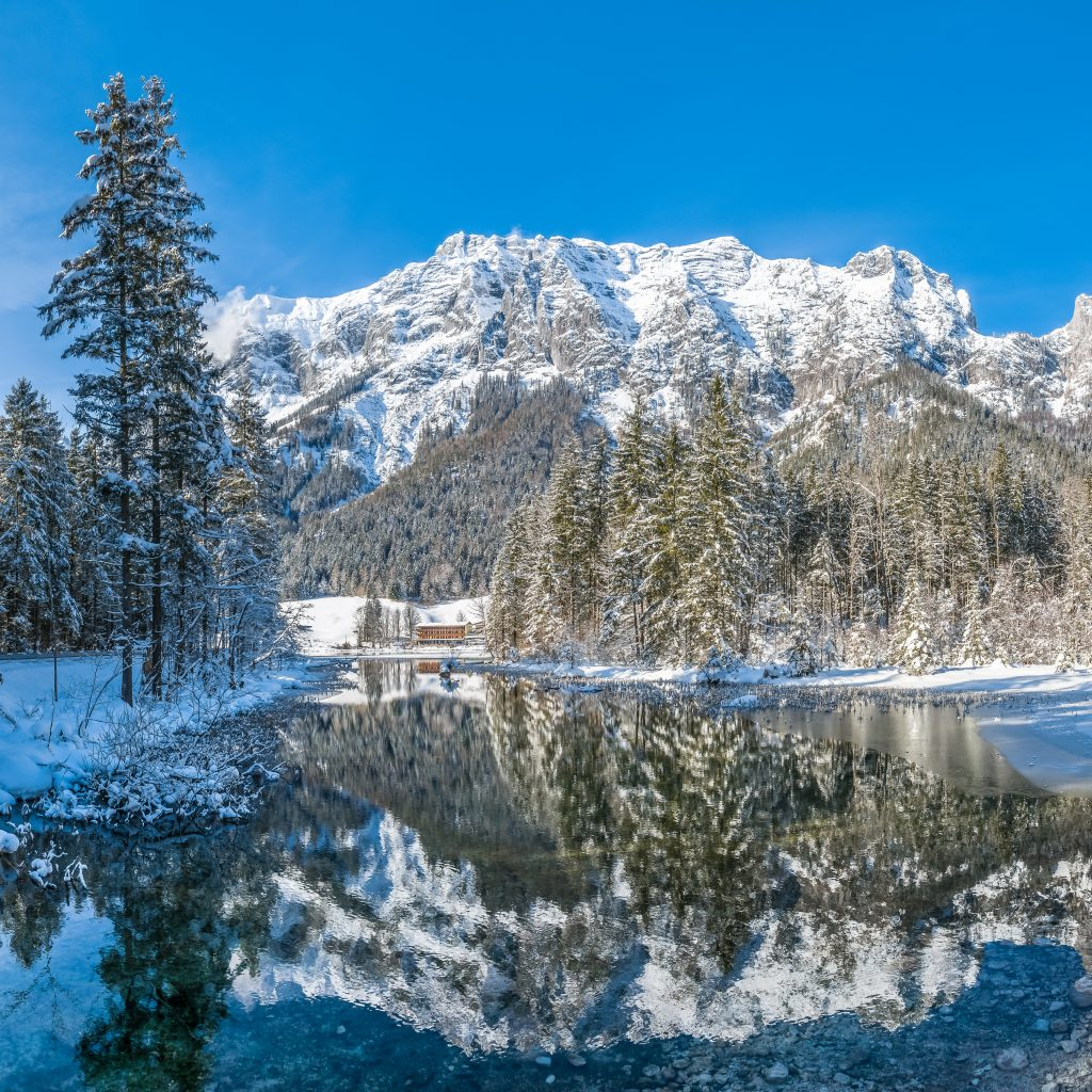 Scenic winter landscape in Bavarian Alps at idyllic lake Hinters