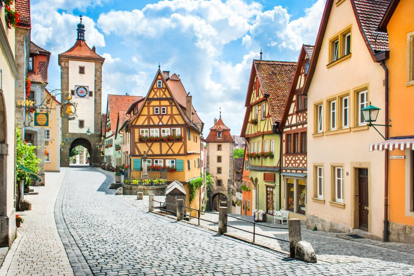 Beautiful view of the historic town of Rothenburg ob der Tauber,