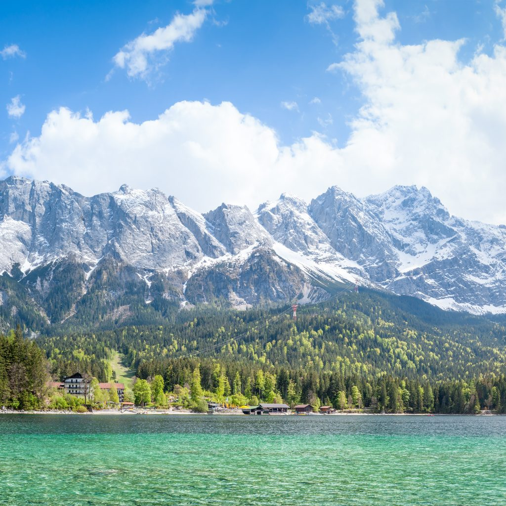 Eibsee Zugspitze in Bavaria Germany