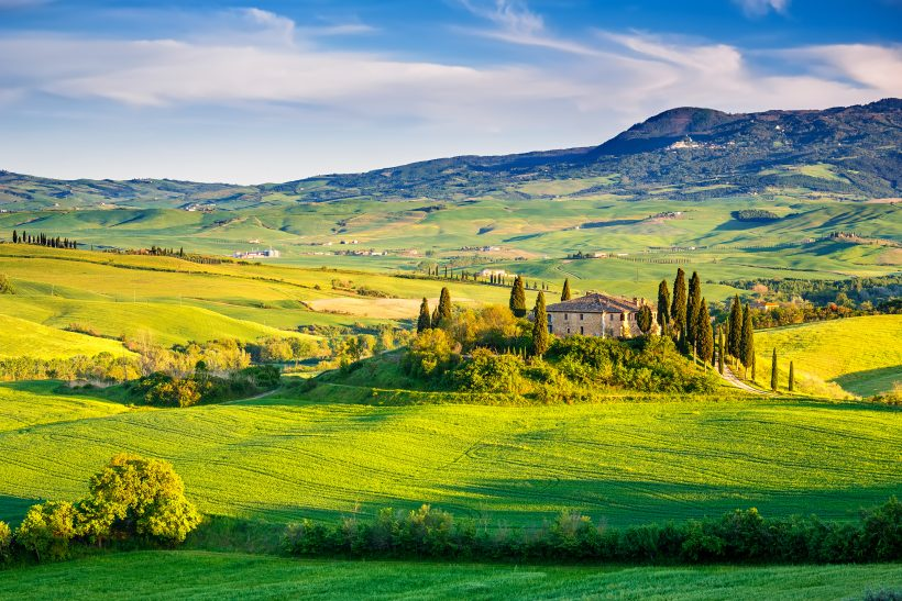 Tuscany landscape at sunset